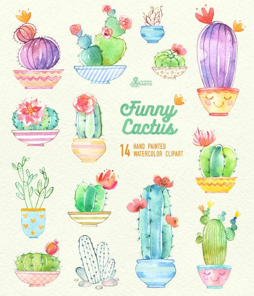 Funny Cactus in Pots. 14 Hand painted digital clipart, diy elements, flowers, invitation, potted cac