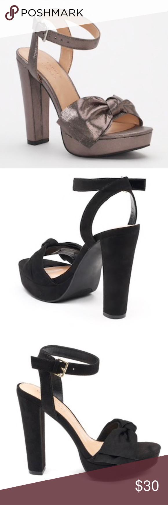 LC Lauren Conrad Bow Womens High Heel Sandals