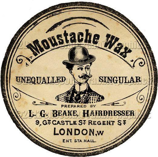 Mustache Moustache Wax Label Tag Digital Download ...