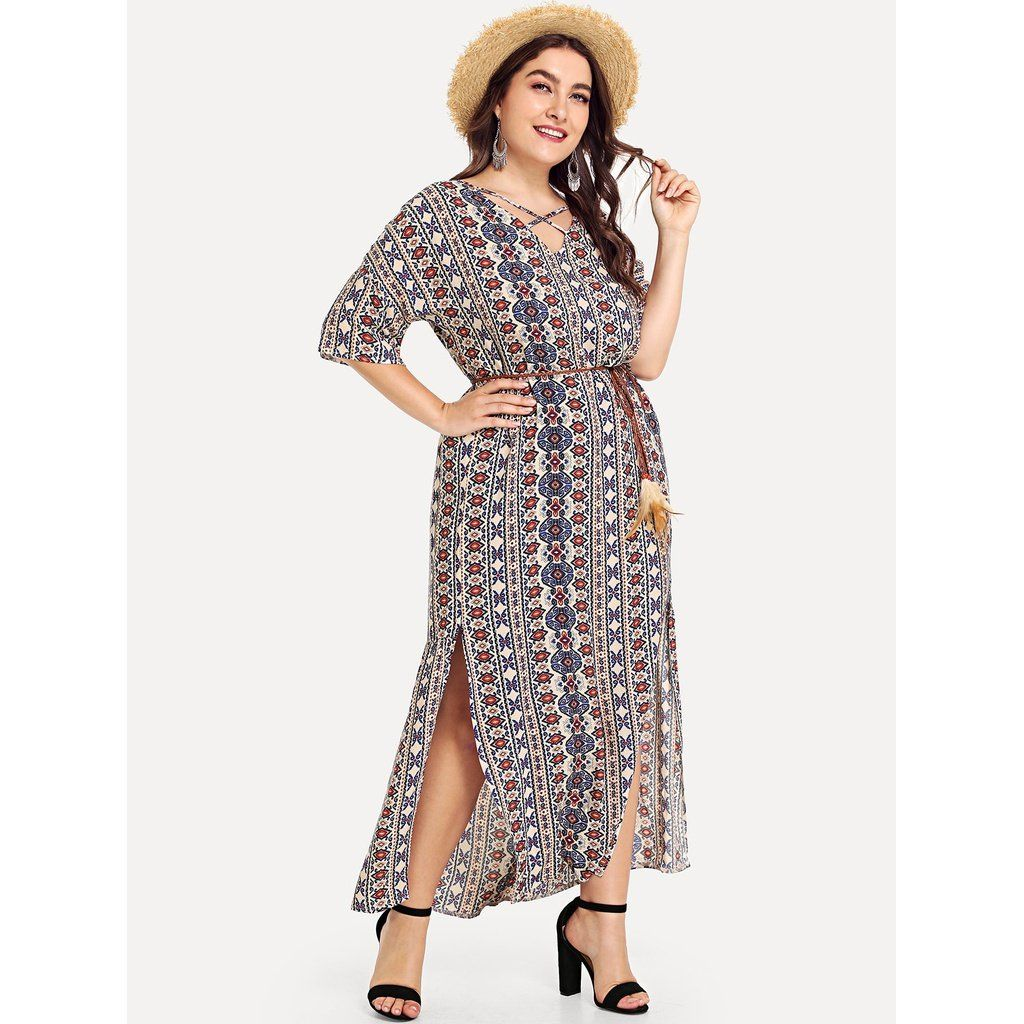 dbe5e536b0d Plus Aztec Print Slit Side Dress