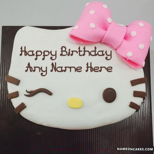Cute Kitty Happy Birthday Cake For Kids With Name HBD Cake