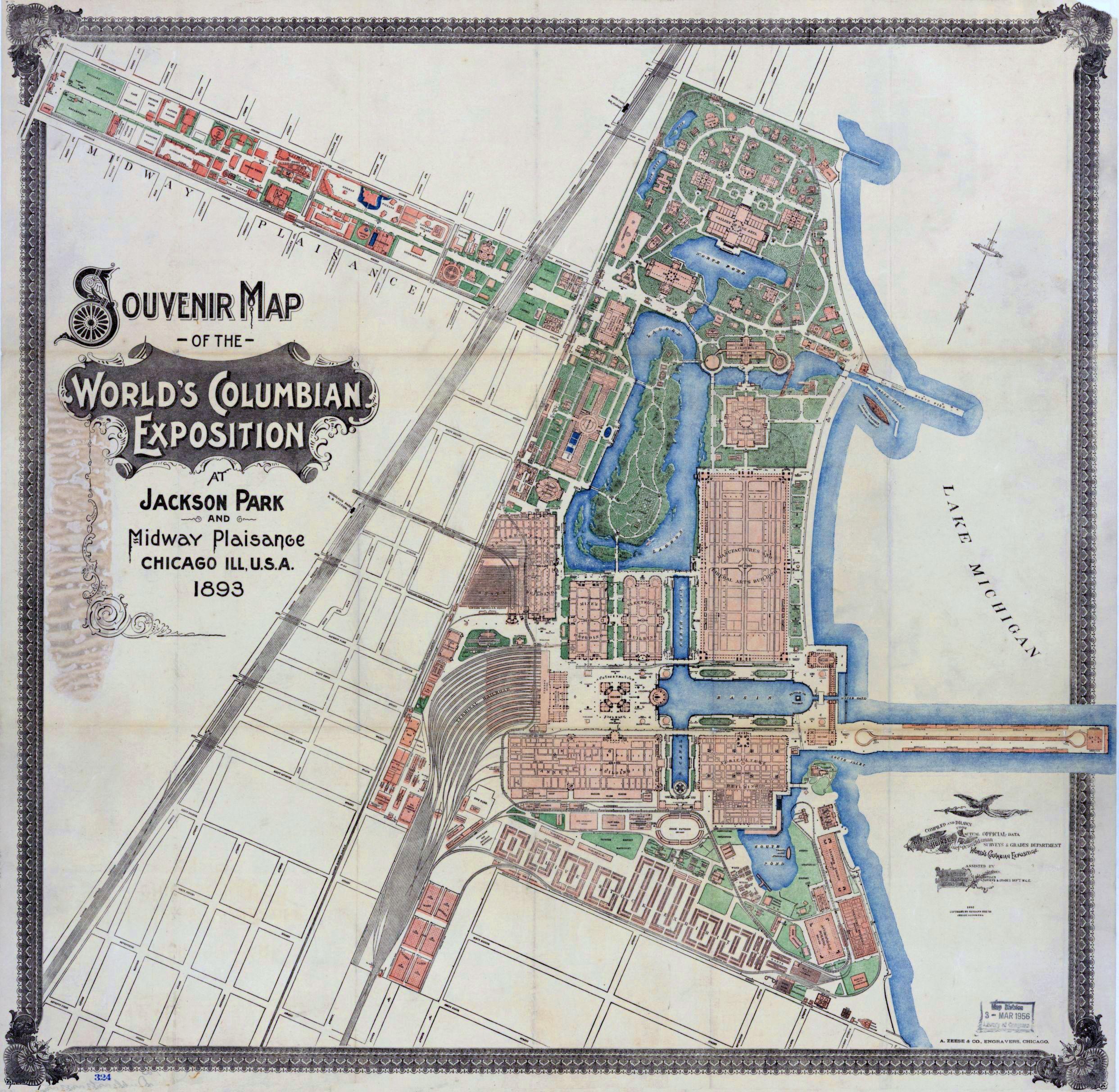 Souvenir Map Columbian Exposition Chicago 1893