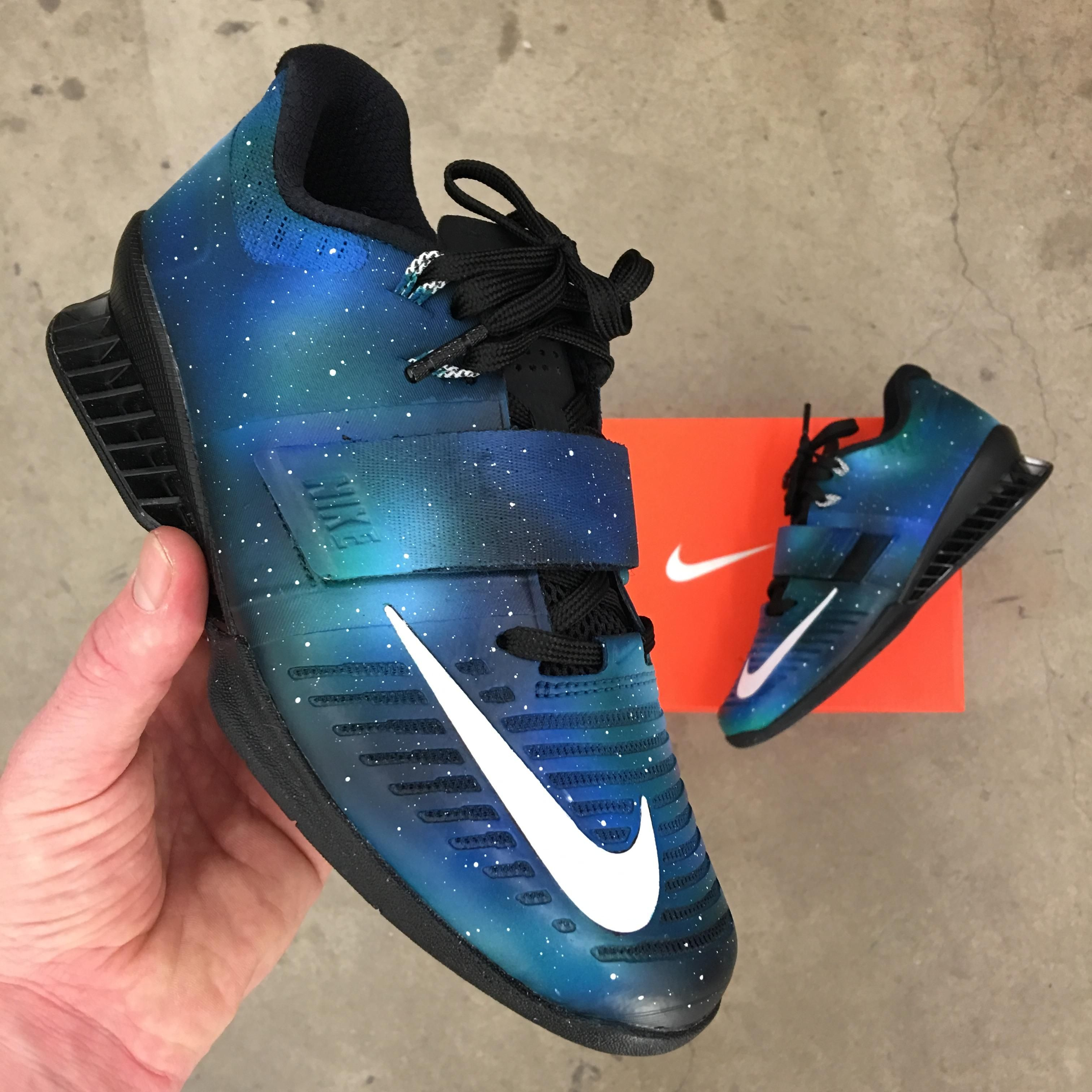 Hand Painted Galaxy Nike Romaleos 3  crossfit  fitness  WOD  workout   fitfam  gym  fit  health  training  CrossFitGames  bodybuilding 882b845b9