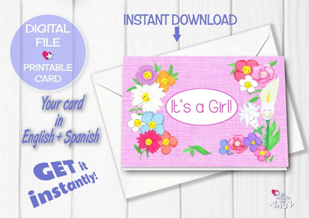 Baby Shower Card, Birth Announcement, New Baby Girl, Congrats Card