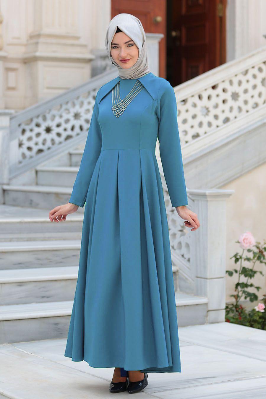 Neva Style Kolye Detayli Mavi Tesettur Abiye Elbise 41470m Tesetturisland Com The Dress Elbise Elbise Modelleri