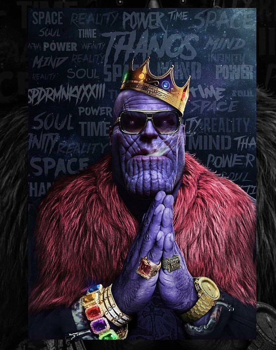 Avengers Infinity War Thanos Ro Thanos As Rick Ross Or Rapper With Crown Praying Hands Bling Rol Avengers Wallpaper Marvel Artwork Superhero Wallpaper