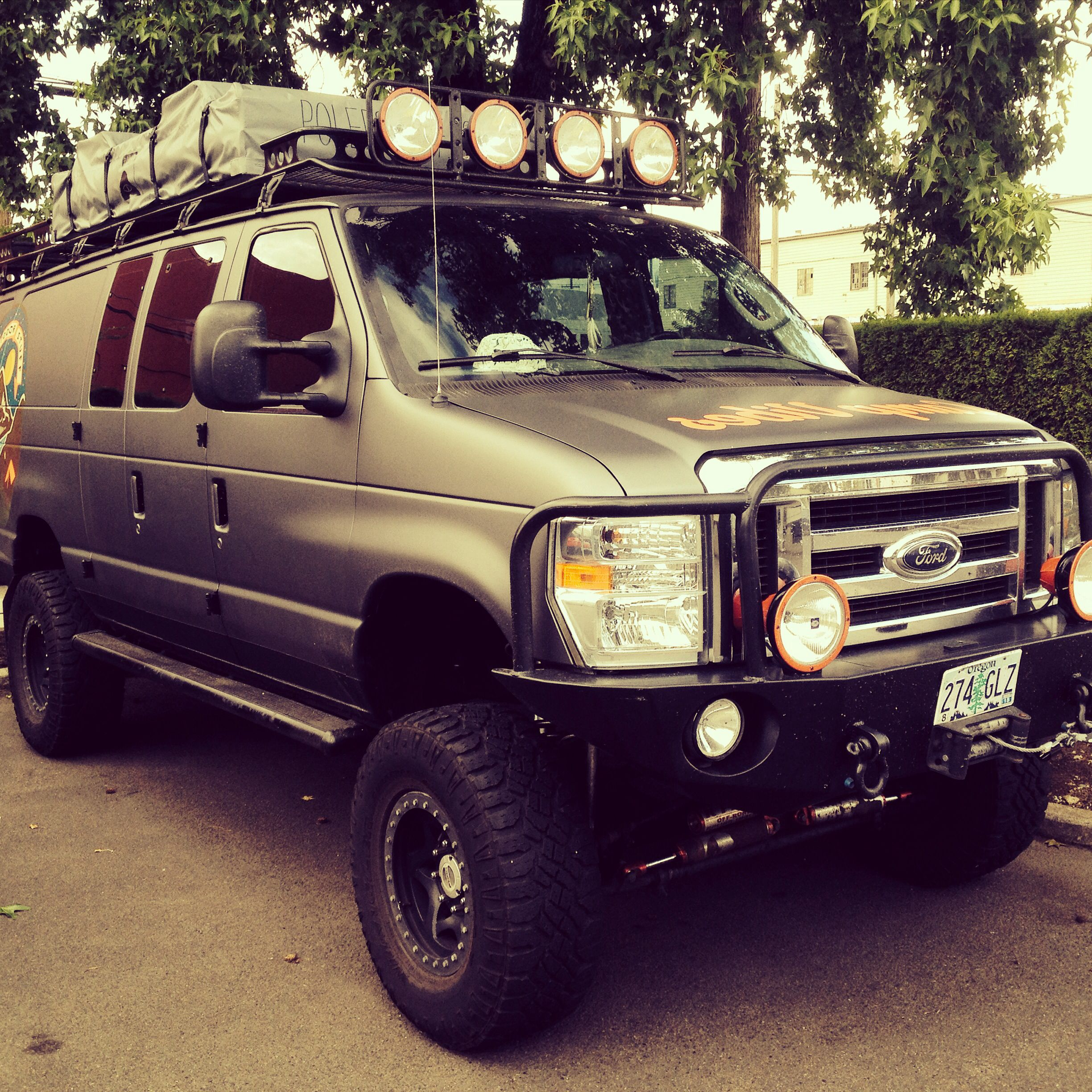 Ford e 350 eb van with aluminess gear all around aluminess roof - Sportsmobile With Aluminess Front Bumper And Roof Rack