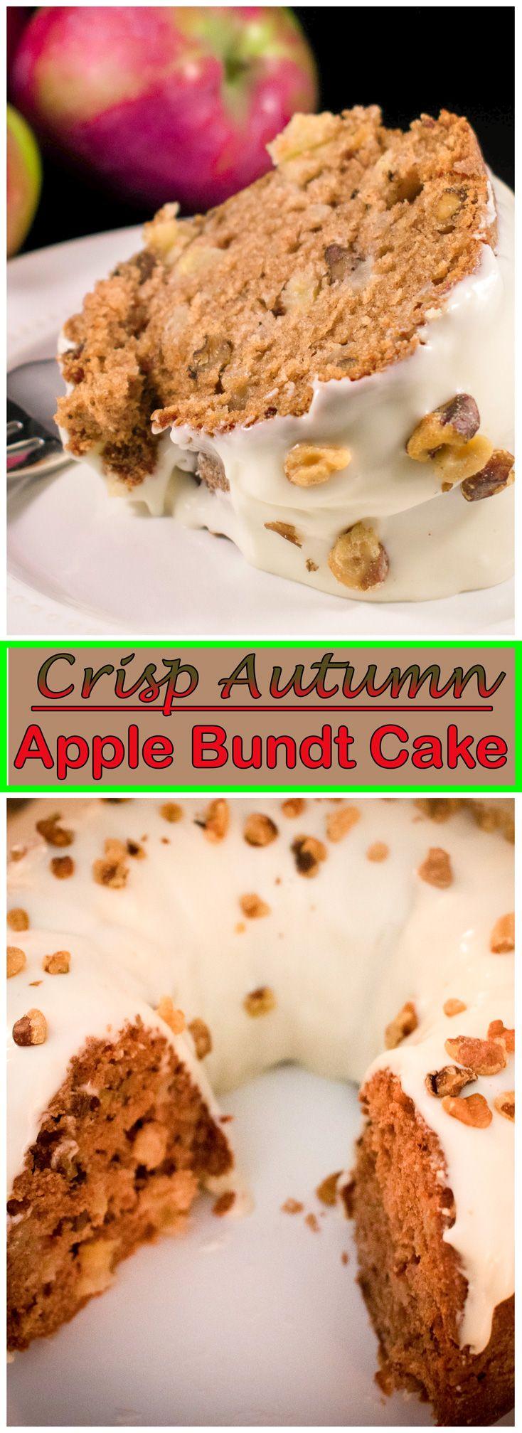 Apple walnut bundt cake with cream cheese frosting