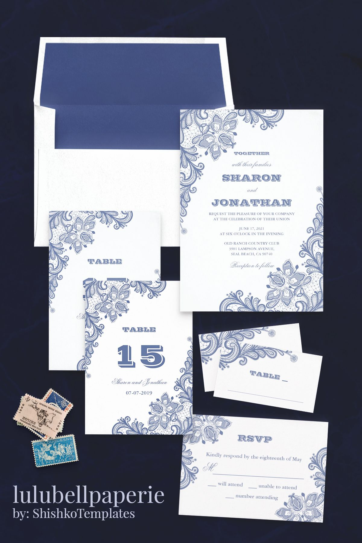 Royal Blue Vintage Lace Elegant Wedding Invitation Suite Calico Blue And Whi Vintage Wedding Invitations Lace Elegant Wedding Invitations Blue Themed Wedding