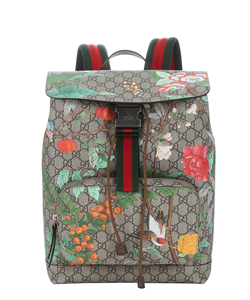 31f81c0b0d0 Gucci Beige And Green Tian Print Gg Canvas Web Stripe Backpack ...