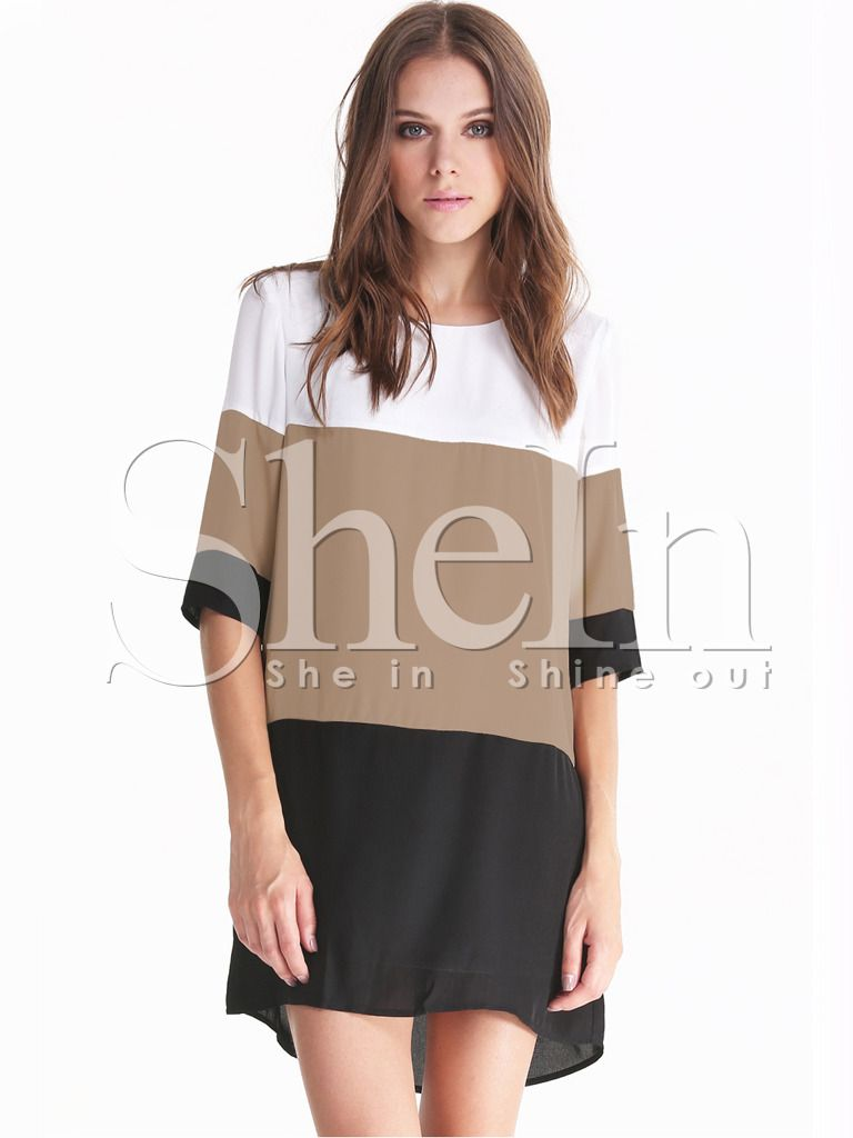 0a6e628f8a40 Shop White Coffee Black Color Block Dress online. SheIn offers White Coffee  Black Color Block