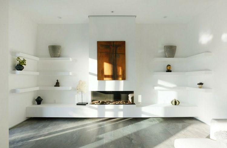 Fernsehwand selber bauen stein  Die weiße Wohnwand ist modern und schlicht gebaut | Kamin ...