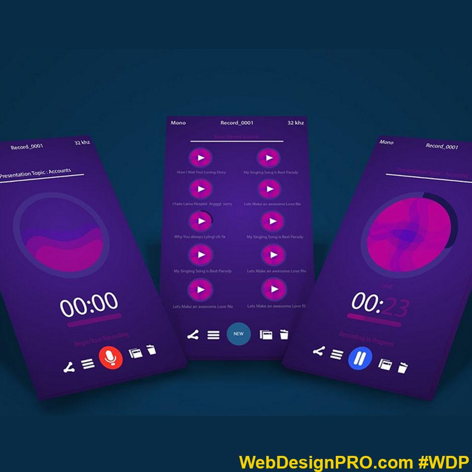 Voice Recorder App. WebDesignPro voice recording