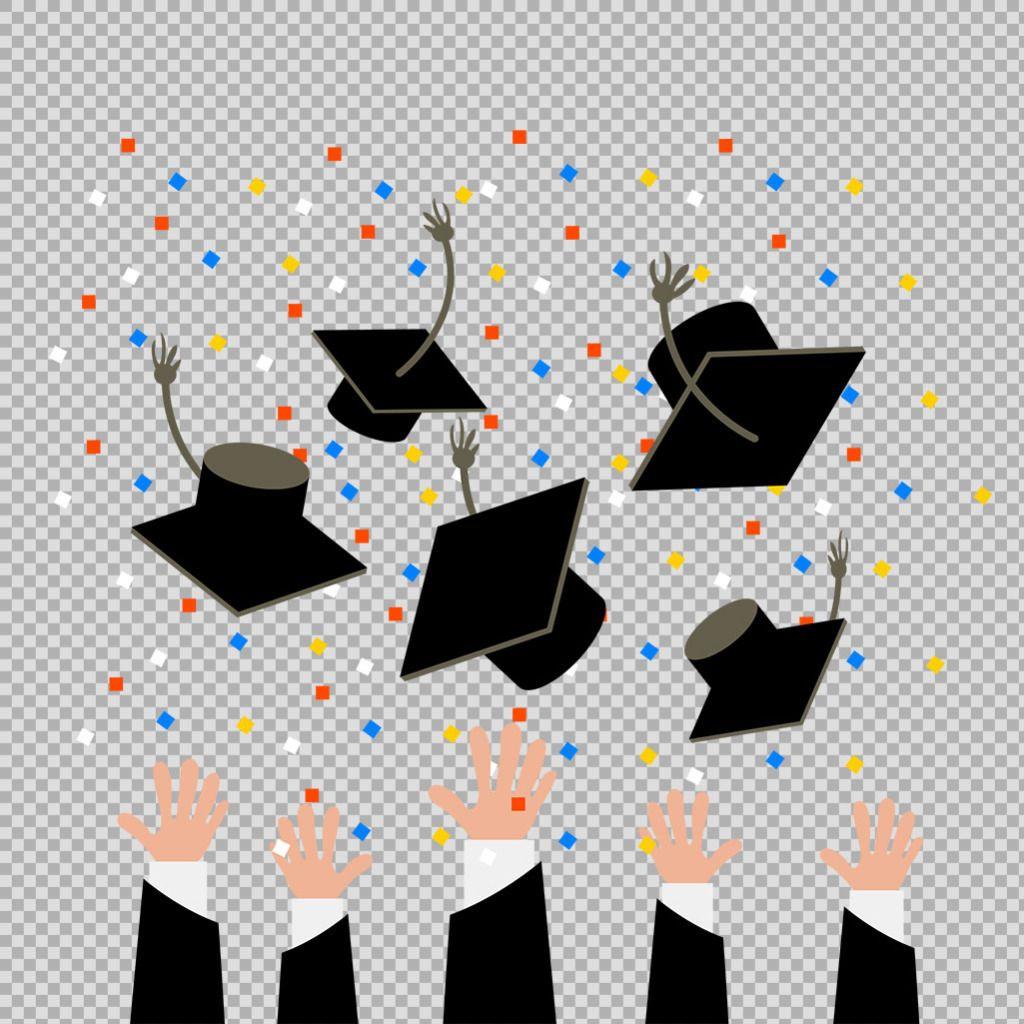 Hand Throw Graduation Cap Element Free Png Transparent Layer Designcartoon For Kindergarten Graduation Download For Fre Free Png Wreath Clip Art Layers Design