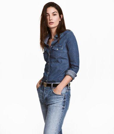 Figurbetonte Jeansbluse   Blau   Damen   H M DE   clothes 2017 ... 3a70f9a409