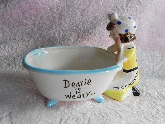 Vintage Enesco Dearie Is Weary Soap Dish Victorian
