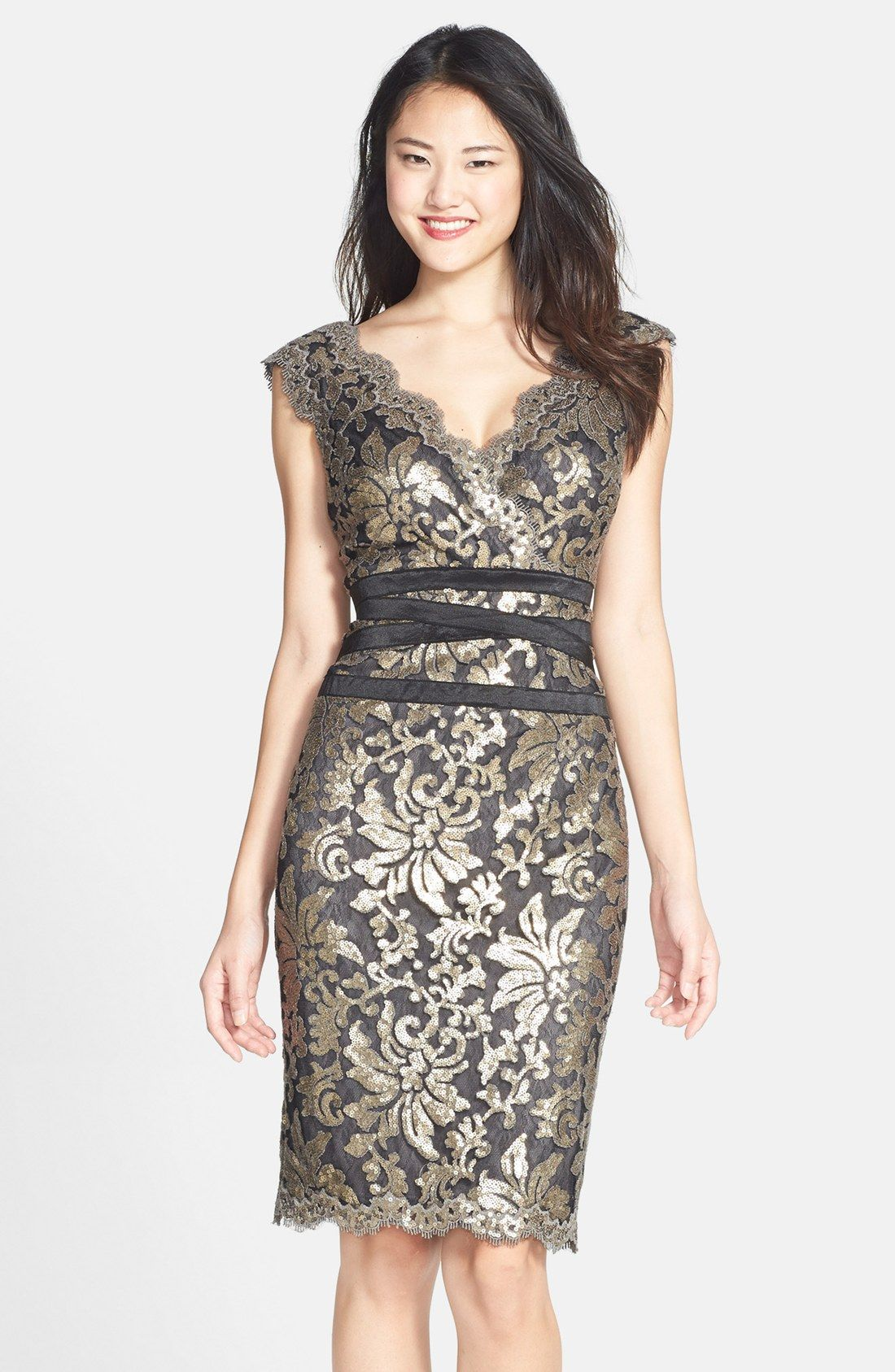 2a257f39e354c Tadashi Shoji Sequin Lace Sheath Dress (Regular   Petite)