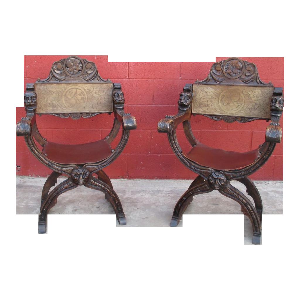 Antique italian chairs - Italian Antique Savonarola Chairs With Leather Antique Furniture Antique Furniture Antiques And Leather