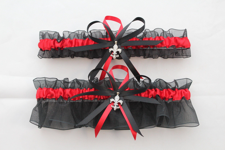 Motorcycle charms Black satin and red organza bridal garter set wedding prom garters se Customizable handmade
