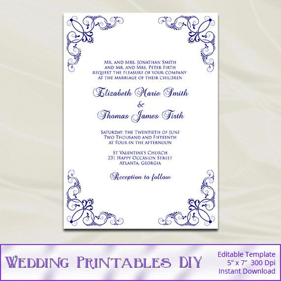 Navy Wedding Invitation Template Diy Blue Silver Birthday Bridal