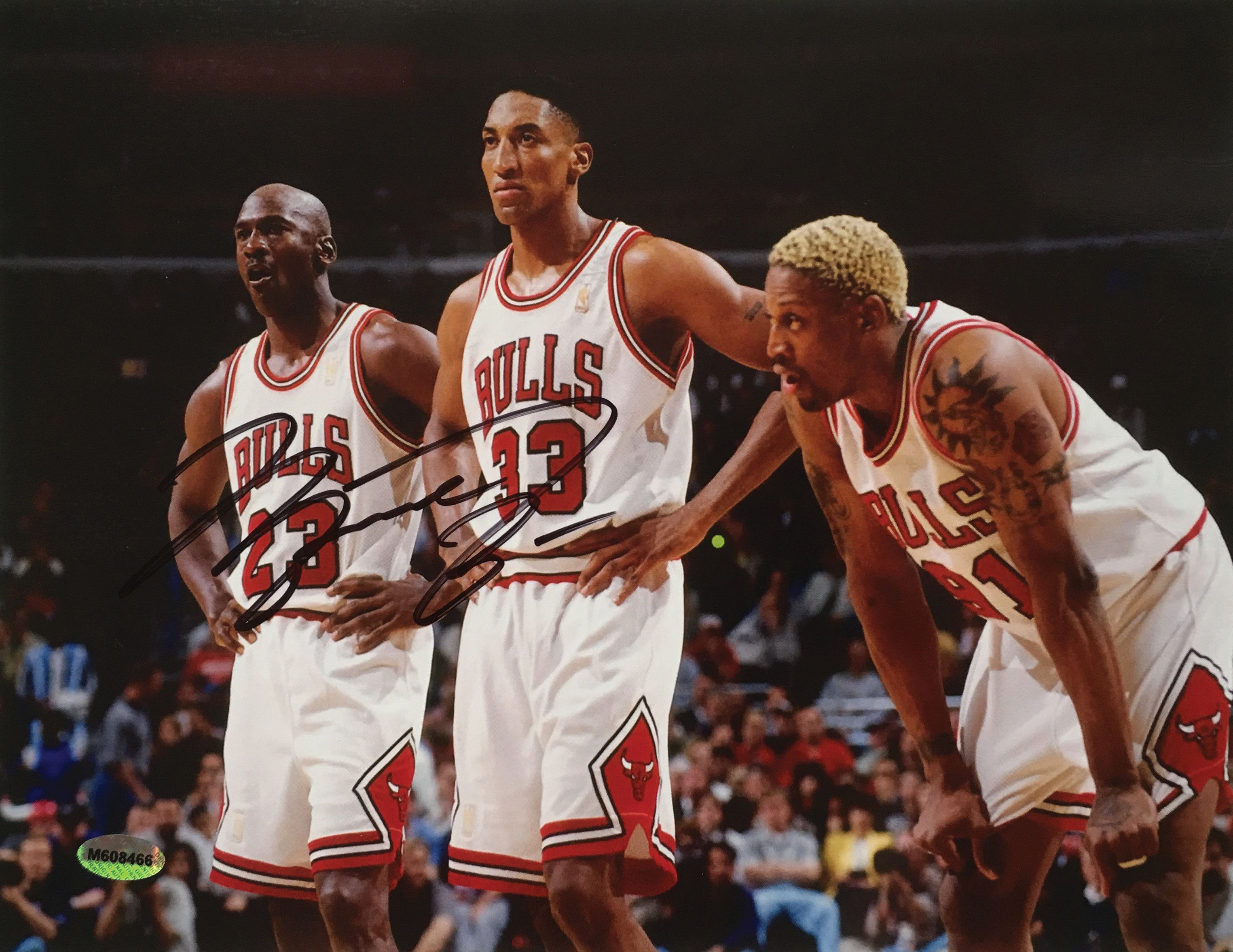 Michael Jordan Chicago Bulls Signed 8.5x11 Photo with Dennis Rodman &  Scottie Pippen