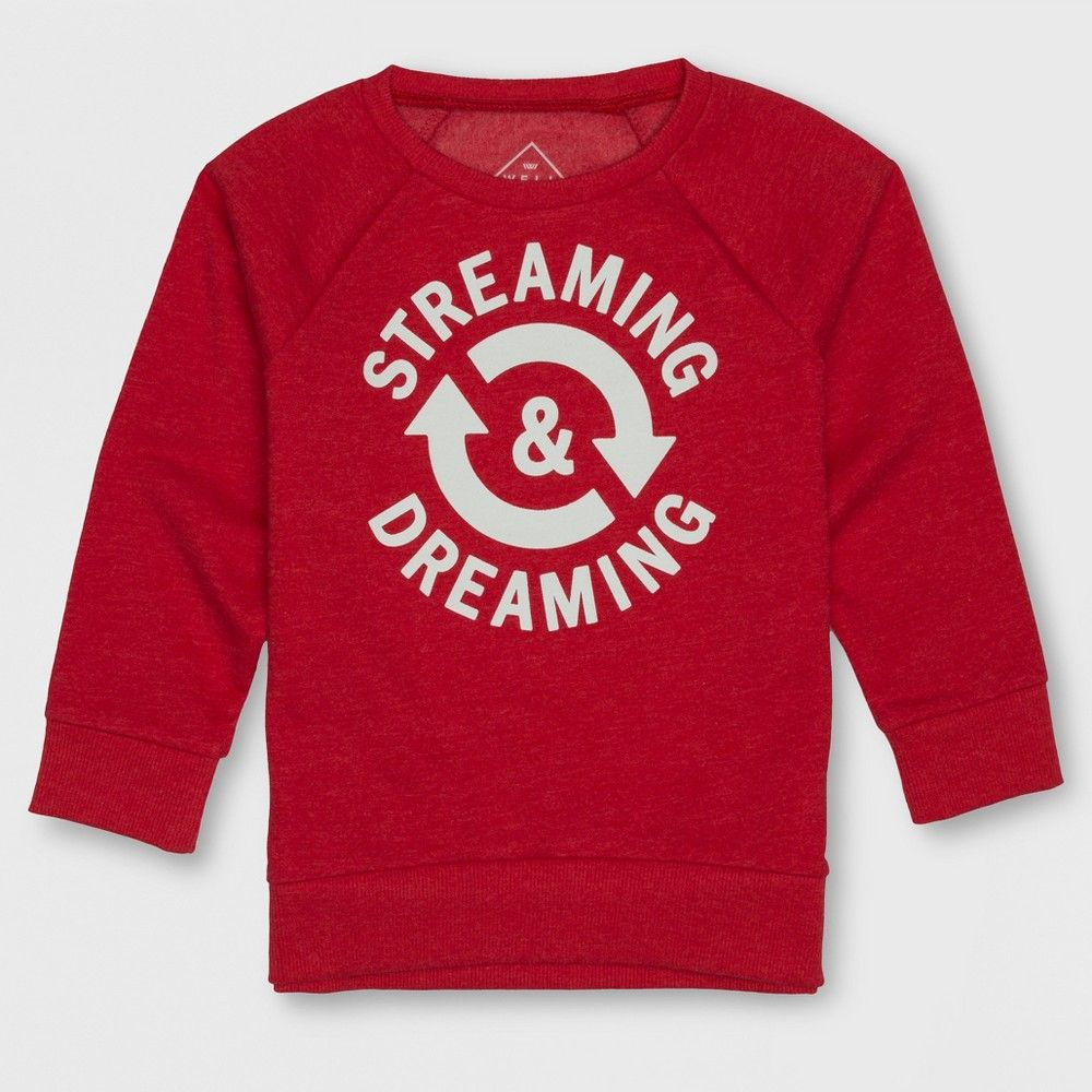 77a985deafba Add a bright pop of color to your darling's wardrobe with this Sweatshirt  from Well Worn. Made from a cotton-blend fabric this toddler boys' red  sweatshirt ...