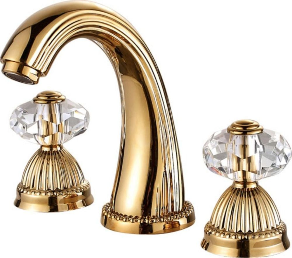 Free ship Gold PVD 8 inch widespread bathroom Lavatory Sink faucet ...