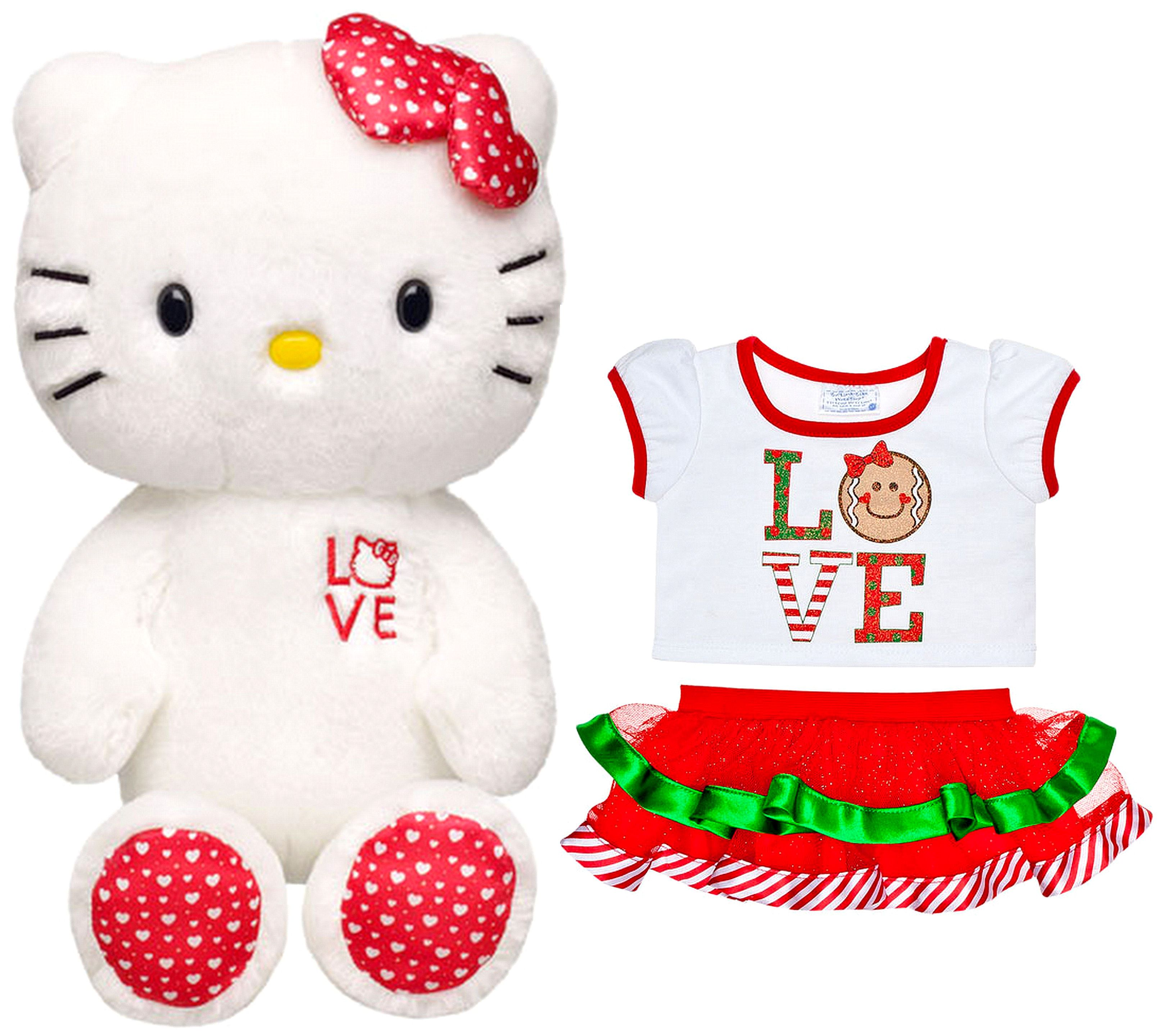 3c8385657 Build a Bear Love Hello Kitty Hearts Gingerbread Outfit Large 18 in. Sanrio  Plush Doll