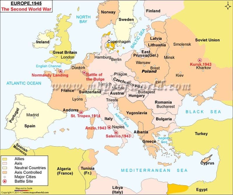 World War II Map (shows the position of various European countries ...