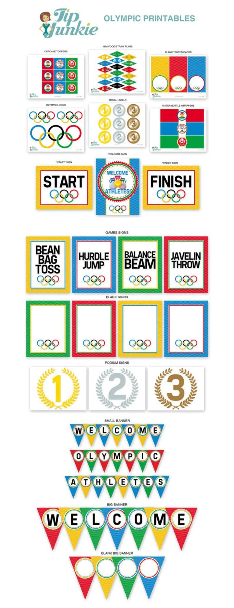 13 Olympic Games Party Decor  Red  Blue  Yellow  Green  Rings  Medal  Banner PRINTABLE FILE