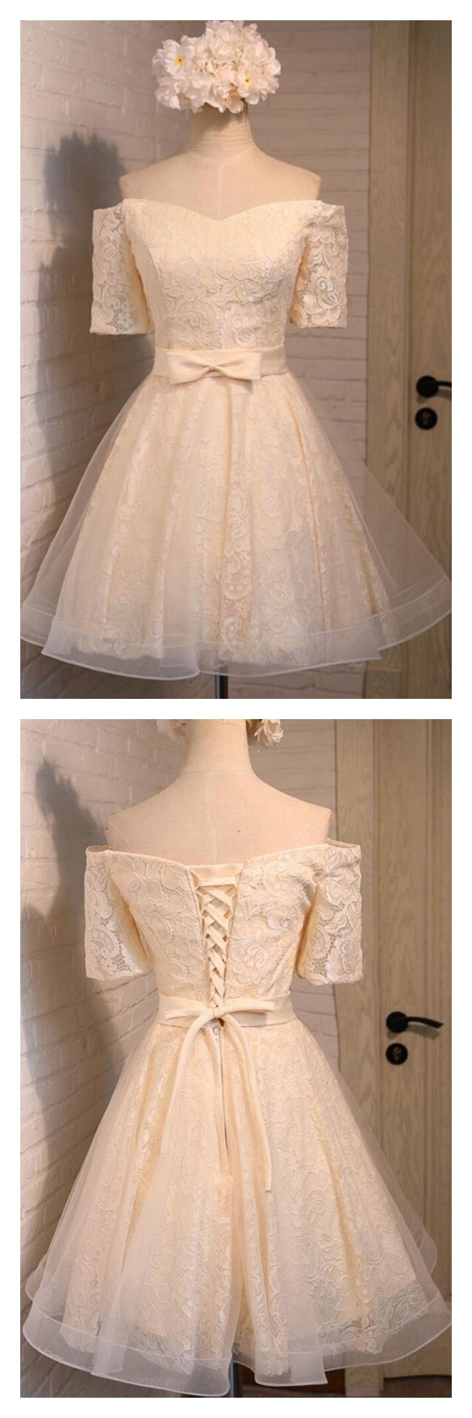 Off shoulder bowknot lace homecoming dresses ed homecoming