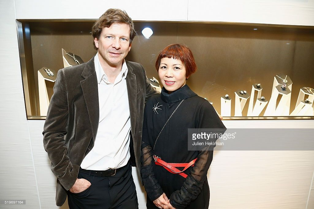 French Jeweler Lorenz Baumer and Japanese Designer Ken Okada are pictured during the Ken Okada Fall Winter 2016 Collection Launch at Lorenz Baumer - Place Vendome in Paris on April 7, 2016 in Paris, France.