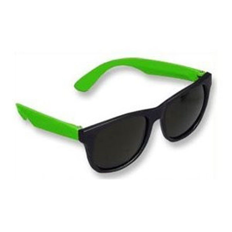 Private Island Party  - Party Wayfarer Sunglasses with Green Legs 1176, $0.55 - $1.49     This is not your standard pair of party sunglasses.    Not only does the green make these glasses stand out from the crowd, but the Wayfarer shape assures that they are cool and fashionable as well.    These glasses offer great vintage colors with silver  temple accents and clear lenses which block 99.99% of harmful UVA and UVB rays. Made for daily wear.