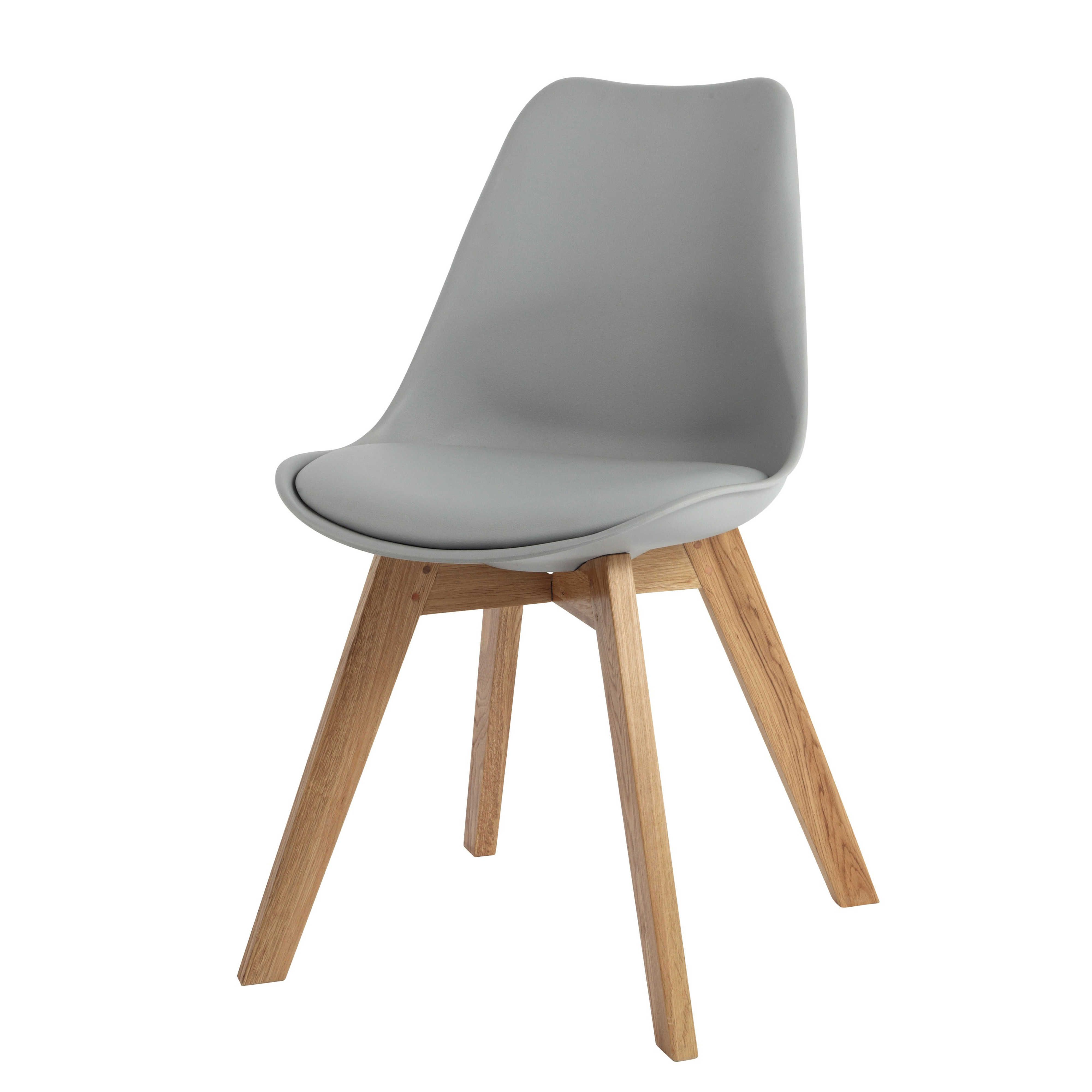 Polypropylene and oak chair in grey - Ice