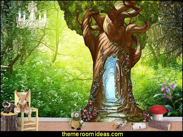 Enchanted tree door wall decal fairy forest woodland for Fairy garden wall mural