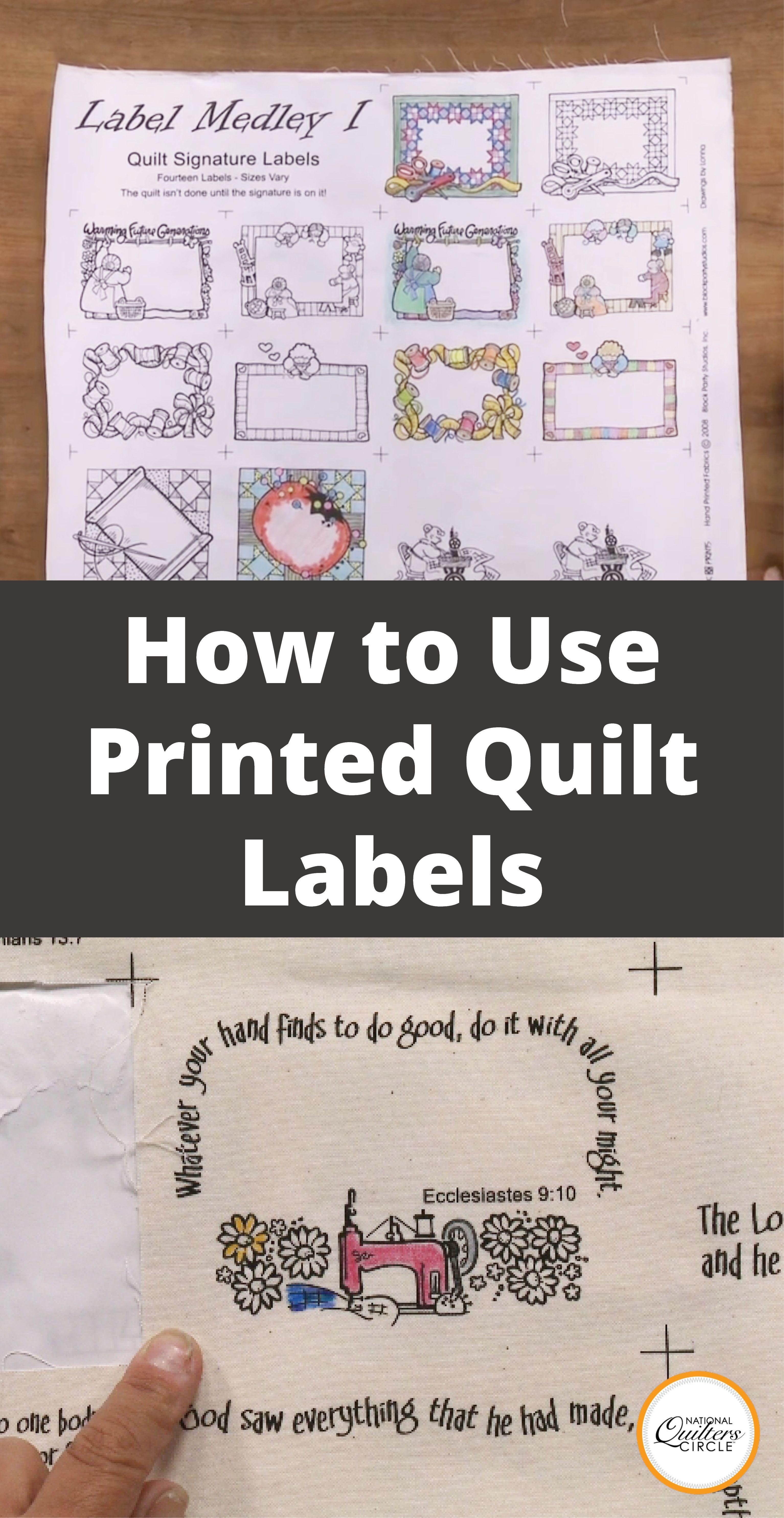 Quilt Signature Label
