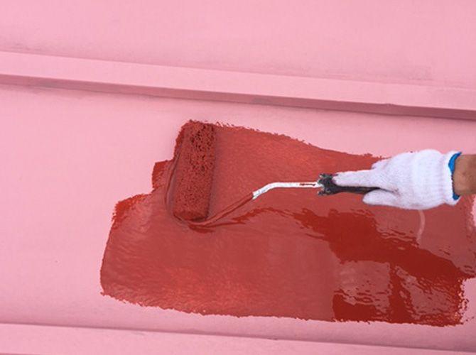 サーモアイsiで屋根塗装の中塗り 屋根 外装リフォーム 塗装 工事