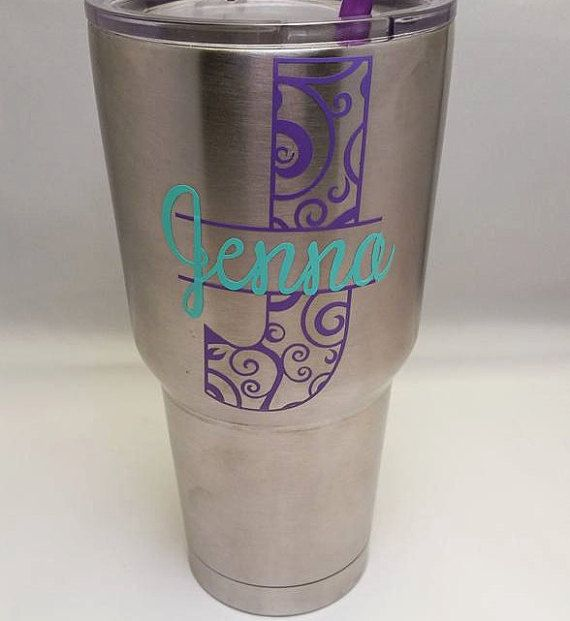 Monogram Car Decal Vinyl Name Yeti Decal Sticker Personalized - Custom vinyl stickers for tumblers