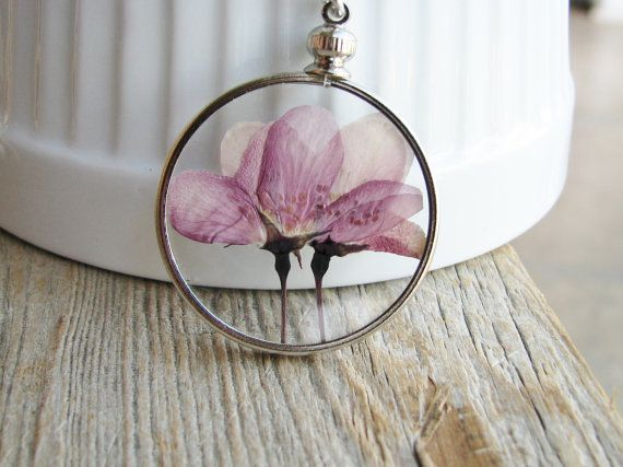 Framed flower pendant necklace pressed flower purple flowering framed flower pendant necklace pressed flower purple flowering crabapple tree sterling silver chain nature inspired botanical jewelry mozeypictures Images