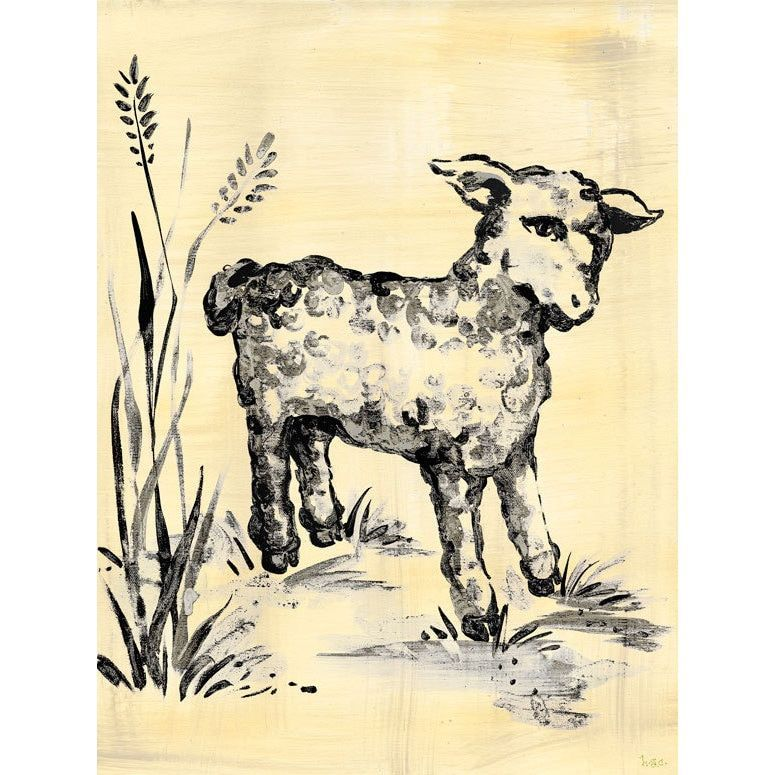 Oopsy Daisy toile Lamb, Cream and Stretched Canvas Wall Art ...