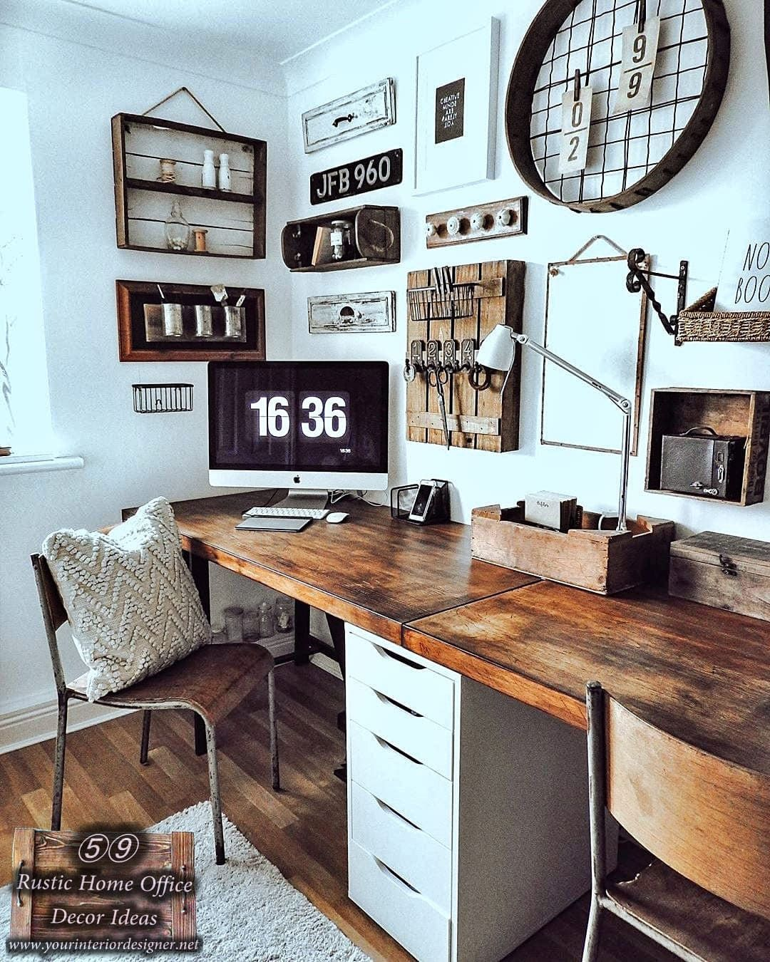 Photo of 59 Rustic Style Home Office Decor And Design ideas. Advice Page: 40 (For Two)