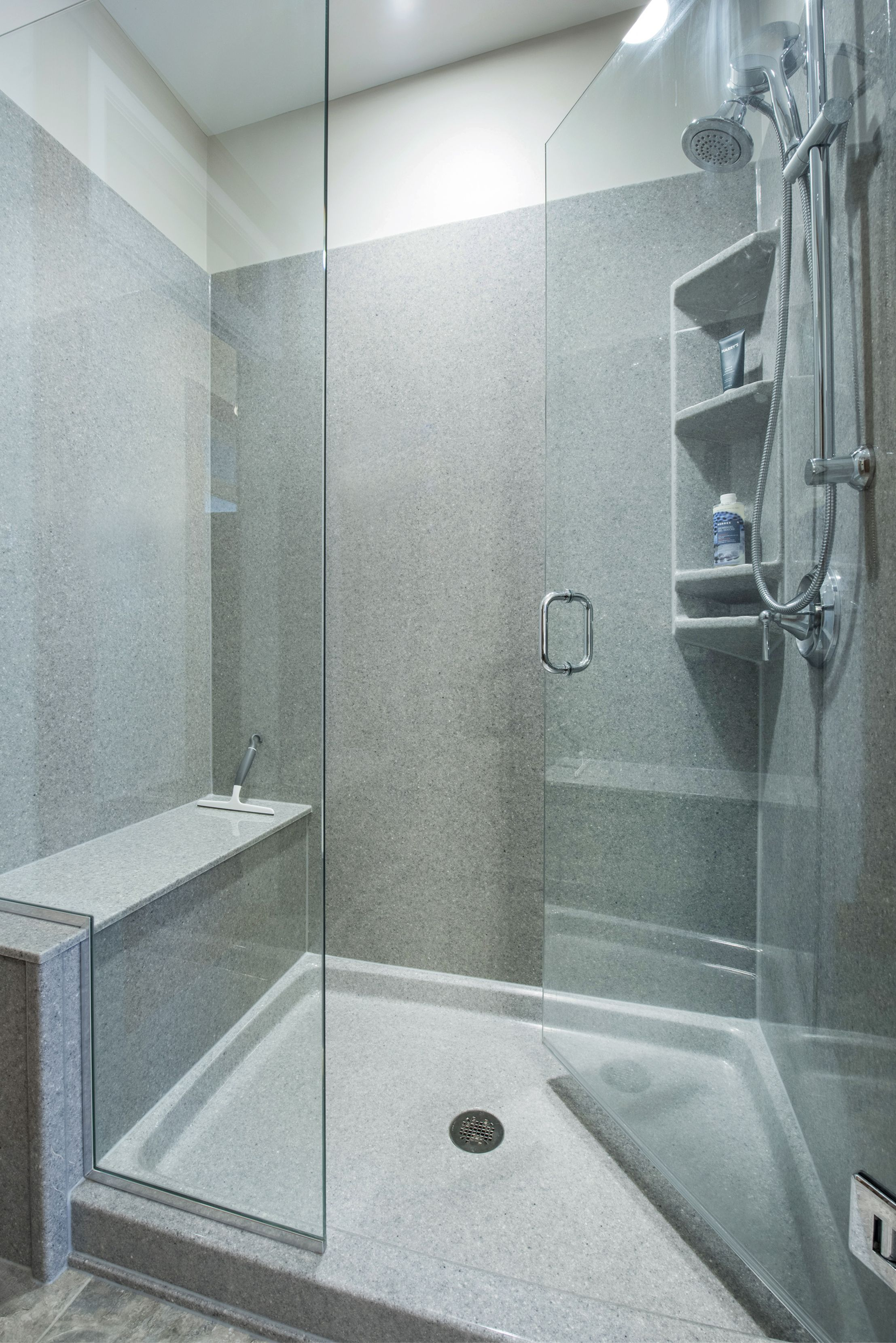 Removing A Tub Allows Space For A Luxurious Walk In Onyx Shower