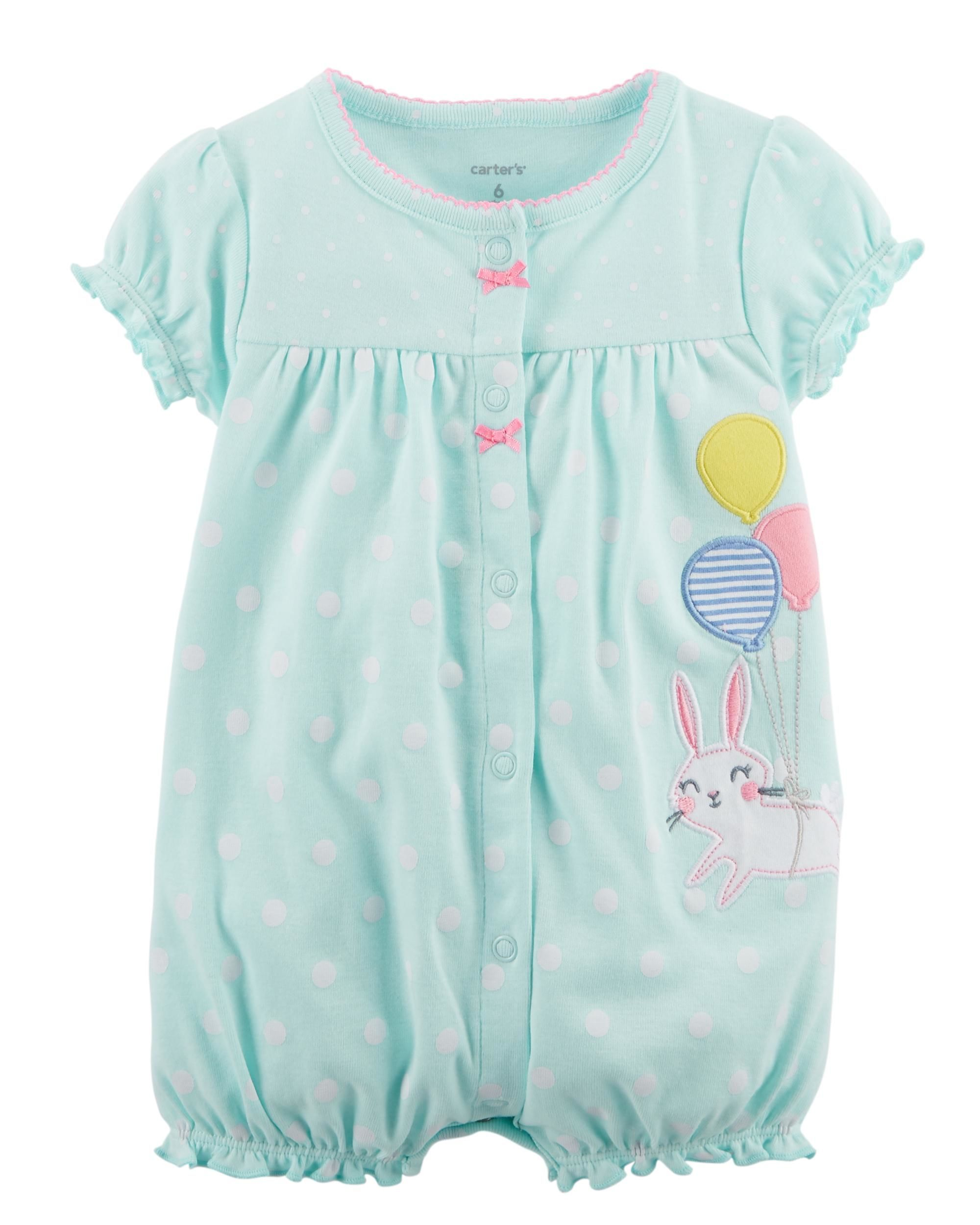 0726a2a17 Bunny Snap-Up Cotton Romper