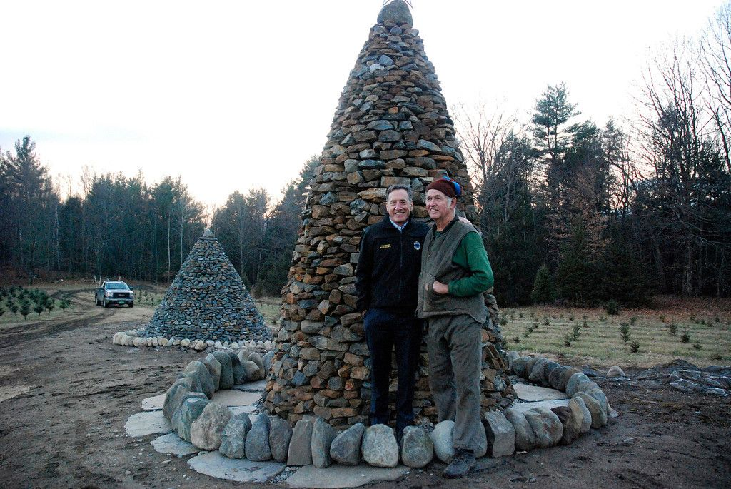 Governor Shumlin At Elysian Hills Tree Farm Reformer Banner And Journal Tree Farms Tree Stone Cairns