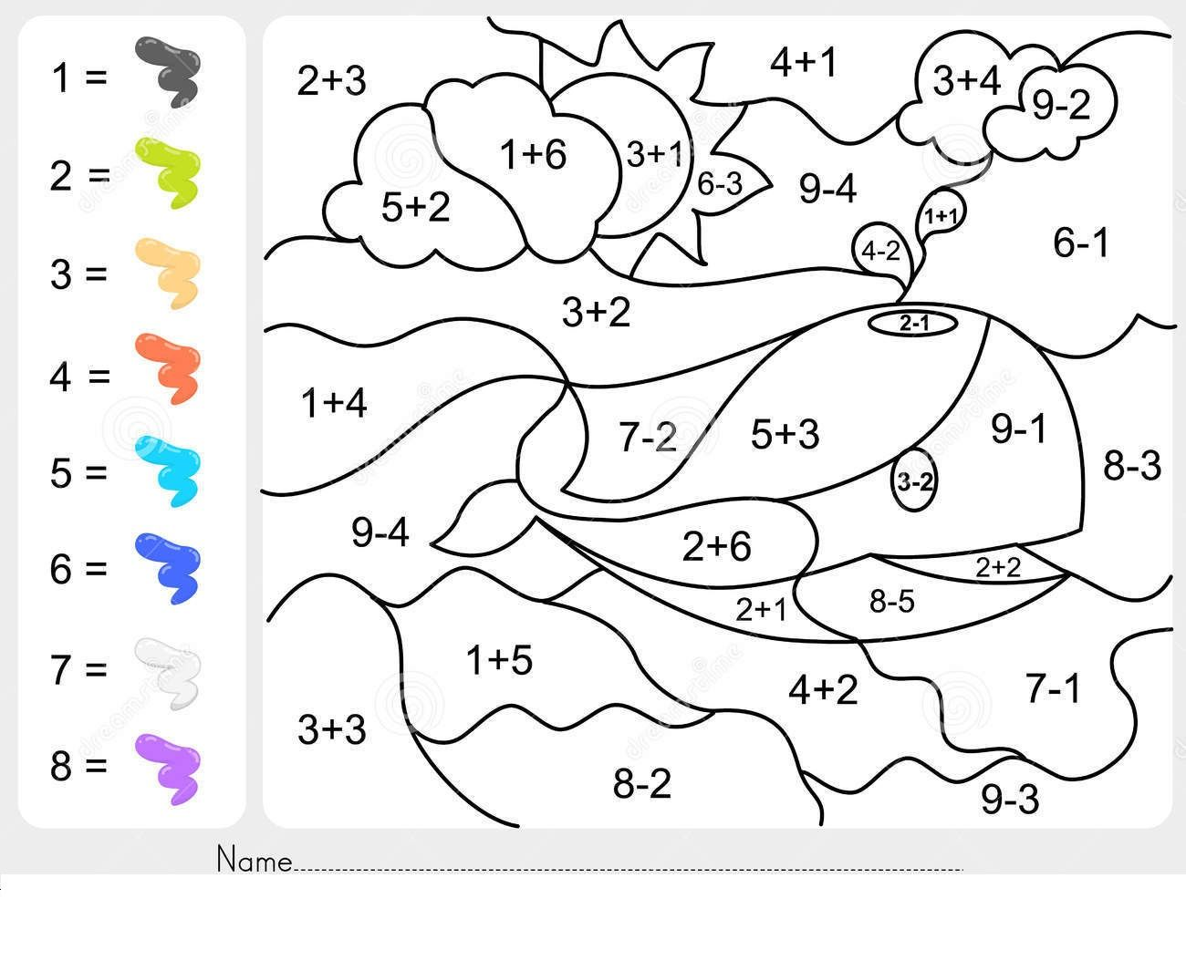 Addition And Subtraction Worksheets With Coloring By Number Here You Can Find More Works Math Activities Preschool Math Coloring Worksheets Fun Math Worksheets