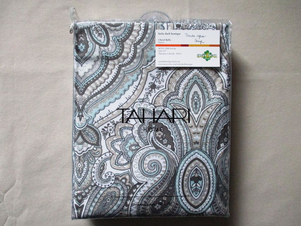 NEW Tahari Fabric Shower Curtain Paisley Floral MACKENZIE TAN Seafoam Taupe Tan