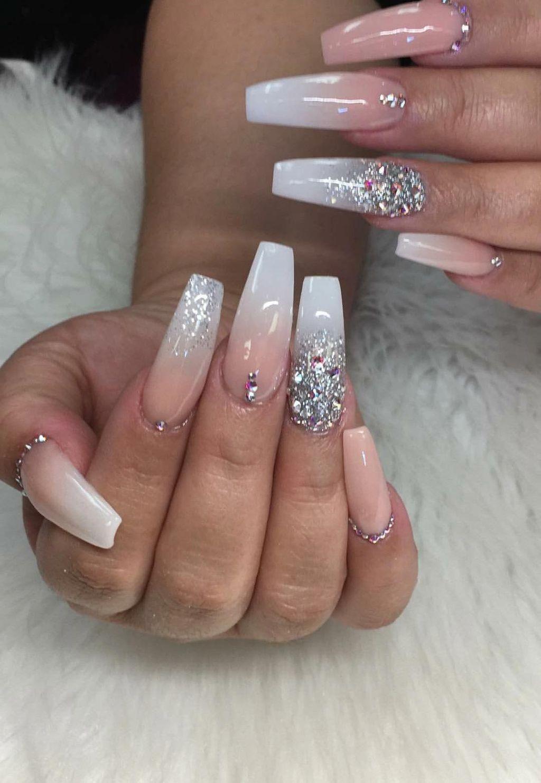 35 Unordinary Diamond Nail Design Ideas You Will Love It Diamond Nail Designs Diamond Nails Ombre Acrylic Nails