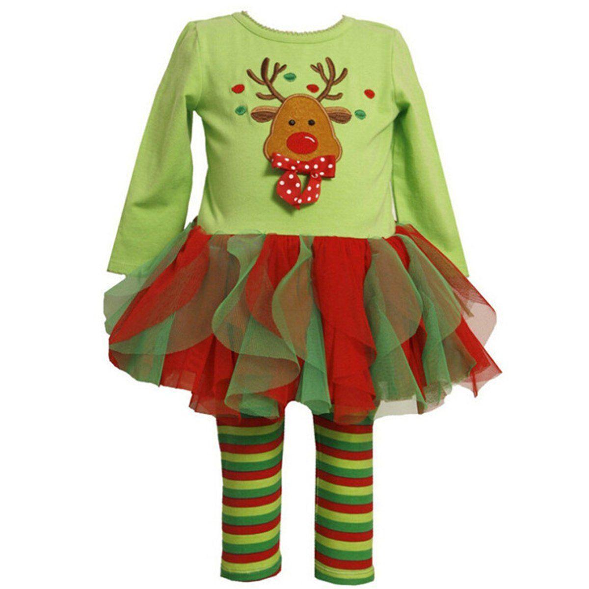 Genluna Child Girls Christmas Elk Outfits Long Sleeve DressPants