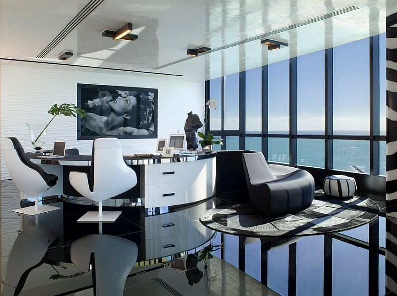 interior design miami office. Mesmerizing Living Room And Home Office With Ocean Views In Miami Interior Design T