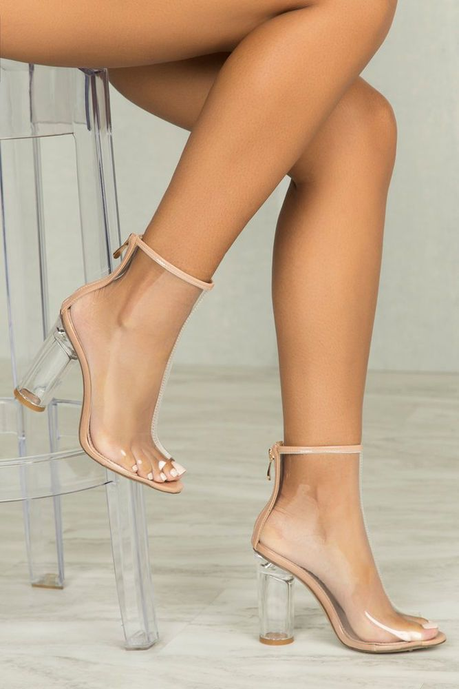 fef409be8953 Transparent Clear Perspex Lucite Heel Open Peep Toe Bootie Ankle Boots